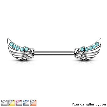 Nipple Rings Angels Wings With Lined Czs