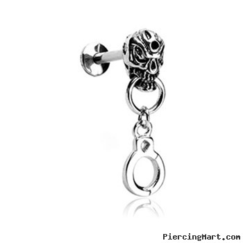 Labret Stud With Skull Head And Dangling Handcuff, 16 Ga
